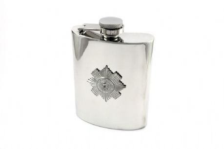 The Scots Guards 6 oz pewter hip flask with regimental cap badge also the option to add a personal inscription.
